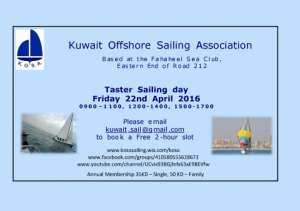 Free Sailing Event With The Kuwait Offshore Sailing Association, KOSA in kuwait